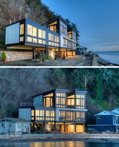 14 Examples Of Modern Beach Houses // This family beach house in Washington State sits on steel columns to allow for the possibility of mudslides or a rising tide. The Effective Pictures We Offer You Beach House Plans, Beach House Decor, Beach Houses, House On The Beach, Shipping Container Home Designs, Container House Design, Container Homes, Style At Home, Contemporary Beach House