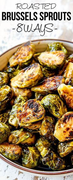These Roasted Brussels Sprouts are crispy beautifully caramelized extremely versatile shockingly addictive healthy and EASY! This recipe shows you how to make classic Brussels Sprouts Honey Sriracha Balsamic Parmesan Lemon Cheesy and more! Healthy Brussel Sprout Recipes, Vegetarian Recipes, Cooking Recipes, Healthy Recipes, Brussel Spouts Recipes, Healthy Nutrition, Galette Des Rois Recipe, Brussels Sprouts, Dinner Ideas
