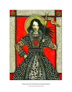 Everyday Saints Print: Our Lady of Fighting the Good Fight — Rogene Manas Mixed Media Artist Autumn Moon Festival, Paper Clay Art, Sonia Sotomayor, Fall Portraits, Lead By Example, Supreme Court Justices, Fight The Good Fight, Moon Goddess, Mixed Media Artists