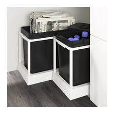 IKEA - UTRUSTA, Pull-out recycling bin tray, You can easily access the bins, as the drawer can be pulled out all the Limited Warranty. Read about the terms in the Limited Warranty brochure. Ikea Kitchen Organization, Ikea Kitchen Cabinets, Organization Hacks, Kitchen Storage, Organizing, Kitchen Sink, Ikea Variera, At Home Furniture Store, Crates