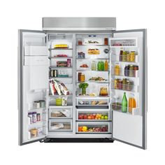 KitchenAid Full Size Refrigerators Refrigeration Appliances - KBSD618E Built In Refrigerator, Side By Side Refrigerator, Stainless Steel Refrigerator, Kitchenaid Refrigerator, Fridge Organization, Home Office Organization, Organization Ideas, Counter Depth, Glass Shelves