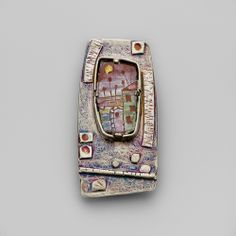 """Aleksandra Kalinic jewelry, """"Nostalgia"""" Pendant Vitreous enamel on copper set in hand-constructed, oxidized, sterling silver frame 25x50x7mm"""