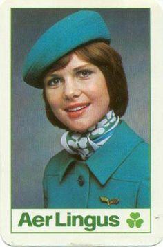 AerLingus Stewardess, 1970's #vintage