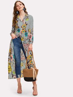 Product name: Vertical Striped Florals Longline Shirt at SHEIN, Category: BlousesSedona Shirt Dress Inspiration and Influences - Designer StitchTo find out about the [good_name] at SHEIN, part of our latestBlouses ready to shop online today!Product n Mode Boho, Mode Chic, Dressy Tops, Maxi Shirts, Shirt Blouses, Look Fashion, Fashion News, Fashion Women, Modelos Fashion