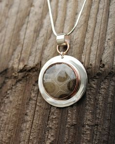 Petoskey Stone Sterling Silver Necklace with Copper Bezel