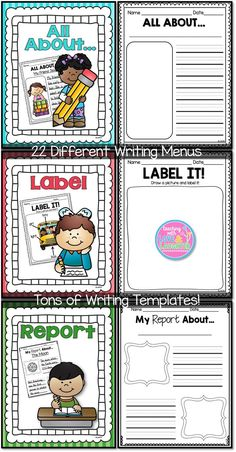 Writing Activities Menus: 22 different writing posters and tons of writing templates. Perfect for every day writing, writing stations, Daily and more! Work On Writing, Writing Workshop, Kids Writing, Writing Skills, Writing Ideas, Workshop Ideas, Writing Process, Writing Activities For Preschoolers, Literacy Activities