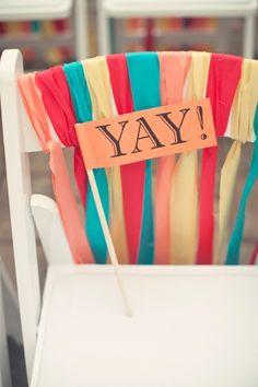 super fun wedding chair decor /// photo credit: My Simple Details, LLC