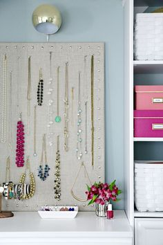 Use a cork board to hang up all your fave jewelry. Cover the board in fabric that matches your room for a chic way to keep your jewelry untangled. Find this idea on Pinterest.   - Seventeen.com
