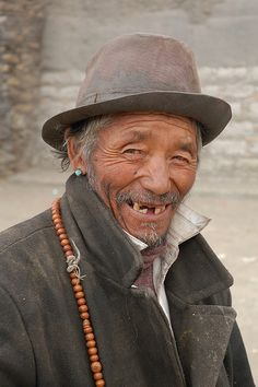 Old man at Sakya, Tibet by iancowe, via Flickr