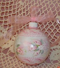Hand Painted Christmas Ornament Cottage Chic Pink Rose Hydrangeas Shabby Lace