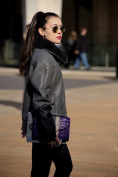 Marta from It's Super Fashion in the  Eternal City Faux Leather Shearling Moto Jacket || Get the jacket: http://www.nastygal.com/sale-jackets-coats/eternal-city-faux-leather-shearling-moto-jacket