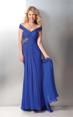 Royal Blue Sheath Floor-length V-neck Dress [Dresses 9931] - $206.00 :