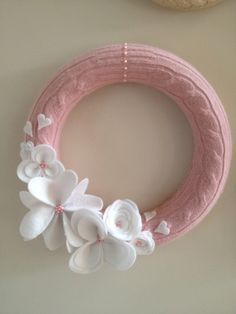 12 Felt blossom wreath upcycled sweater soft pink and by veejaa, $25.00  Pin-It Button on Web Page
