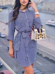 Shop Beading Mesh Splicing Pleated Maxi dress right now, get great deals at makeyouchic Belted Shirt Dress, Mini Shirt Dress, Striped Dress, African Fashion Dresses, Hijab Fashion, Fashion Outfits, Womens Fashion, Style Fashion, Indie Fashion