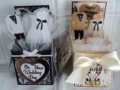 2 beautiful Wedding card in a box I have created