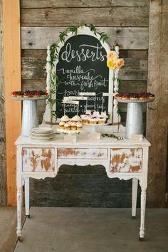 Rustic dessert table: http://www.stylemepretty.com/montana-weddings/ronan/2014/10/03/rustic-montana-ranch-wedding/ | Photography: Kristine Paulsen - http://kristinepaulsenphotography.com/