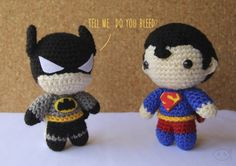 Batman v Superman - Crochet Amigurumi - #lemonyarncreations #amigurumi #dcuniverse #dccomics #batman #superman #batmanvsuperman