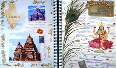 Travels journals can be a personal experiences of a place you visit. This visual journal is made up of a explosion of color and rich textures using found imagery.This image represents a clean representation of a visual journal. This image has objects and drawing that has been collected to create this visual story. I feel the use of drawing and pictures help to express . Expressing the way you feel is hard thing to do but this image of visual journals help to understand the current mood.