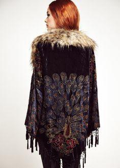 Velvet Peacock Faux Fur Kimono Jacket Velvet Peacock by shevamps