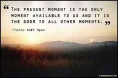 The present moment is the only moment available to us and it is the door to all other moments