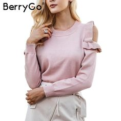 BerryGo's Knitted Cold Shoulder Sweater