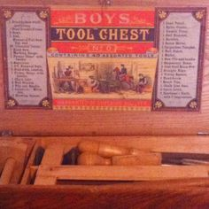 Vintage boys tool chest with tools. Listed into eBay store.  #hindsstudio #ebay #antique #tools #woodworking #carpenter #boy #apprentice #wood #vintage #toolbox #chest