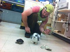 Working at a pet store. After hours, things get serious.