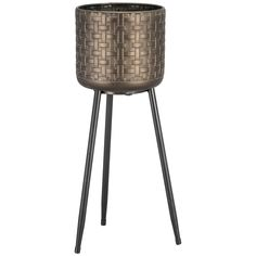 This Metal Planter on Legs features a woven-effect metallic pot in an antique brassy tone atop three slender black legs, coming together to create an exotic and chic design Wooden Garden Planters, Metal Planters, Plant Species, Lounge Furniture, Brushed Metal, Planter Boxes, Artificial Plants, Diy Home Decor, Legs
