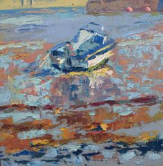Blue and white boat low tide. Oil on canvas. FOR SALE