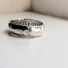 tinahdee beautiful jewelry — Mans Wedding Band with up to 10 characters personalization- Hammered Silver