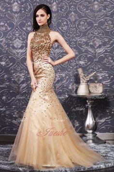 Gold high neck prom dress