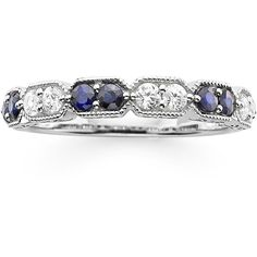 I Said Yes™ 1/4 CT. T.W. Diamond and Lab-Created Blue Sapphire Wedding... (1.840 RON) ❤ liked on Polyvore featuring jewelry, rings, wedding rings, blue diamond rings, bezel ring, blue sapphire ring and bezel diamond ring