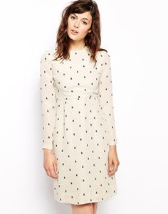 Orla Kiely Shift Dress in Daisy Cat Print
