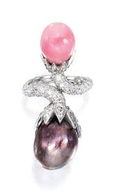 Natural pearl, Conch Pearl & diamond ring, JAR Paris