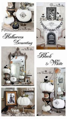 halloween decorating mercury glass with black white