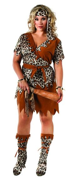 Womens Plus Size Cavewoman Costume - This costume includes animal print boot tops, head sash, waist sash and Cavewoman costume dress. Cupcake Halloween Costumes, Halloween Fancy Dress, Halloween Ideas, Halloween Party, Cupcake Costume, Halloween 2015, Women Halloween, Adult Costumes, Costumes For Women