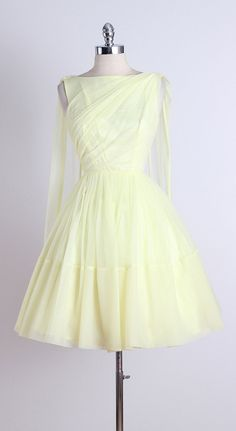LEMON MERINGUE ➳ vintage 1950s dress * beautiful pale yellow chiffon * acetate…