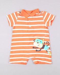 Pelele corto con cuello corto con mono21 marca Carter's http://www.quiquilo.es/catalogo-ropa-segunda-mano/pelele-corto-con-cuello-corto-con-mono21-en-color-naranja-marca-carter-s.html