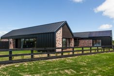 Modern Barn Form - Innovative Black Barn by Red Architecture Modern Barn House, Modern House Design, Metal Building Homes, Building A House, Brick Cladding, Recycled Brick, Black House Exterior, Metal Buildings, Facade House
