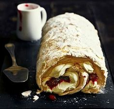Low FODMAP Recipe and Gluten Free Recipe - Cranberry meringue roulade Pavlova, Fodmap Recipes, Gluten Free Recipes, Meringue Roulade, Roulade Recipe, Lemon Roulade, Toasted Almonds, Bbc Good Food Recipes, Low Fodmap