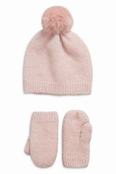 1f4ede8abf887 Buy Hat And Mittens Set (Younger Girls) online today at Next  Australia
