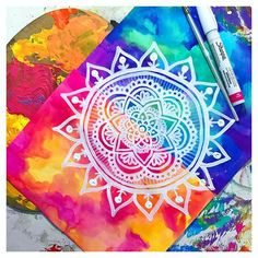 ImageFind images and videos about beautiful, art and zentangle on We Heart It - the app to get lost in what you love. Mandalas Painting, Mandalas Drawing, Mandala Artwork, Zentangles, Mandala Doodle, Doodle Art, Arte Van Gogh, Mandala Design, Love Art