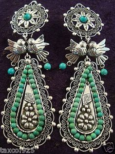 FRIDA-KAHLO-DESIGN-TAXCO-MEXICAN-STERLING-SILVER-TURQUOISE-BEAD-EARRINGS-MEXICO