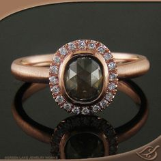 Rough Rose Cut Diamond Halo Ring