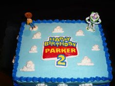 Toy Story This is a 1/4 sheet cake for a little boy's second birthday. I wanted to do something stacked and really cool, but this is...
