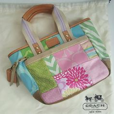 Sale! Coach handbag Multicolored pastel patchwork Coach bag. Limited edition, in great condition and perfect for Spring!! Packaging: Dustbag Coach Bags Mini Bags