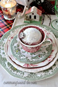 Last year I put together a fun little Christmas Brunch Tablescape here in the kitchen. Of course, it featured Plaid and my Red Transferware,. Christmas China, Christmas Dishes, Christmas Brunch, Magical Christmas, Country Christmas, White Christmas, Vintage Christmas, Christmas Table Settings, Christmas Tablescapes