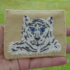 White Tiger Embroidered Yarn and Felt ACEO £4.00