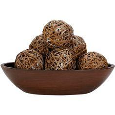 6pk Decorative Balls, Brown