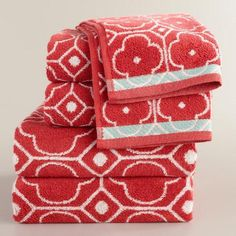 One of my favorite discoveries at WorldMarket.com: Coral Geo Jacquard Bath Towel Collection